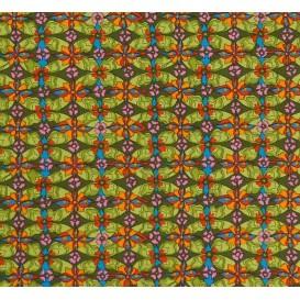tissu stenzo popeline vert fleurs largeur 150cm x 50cm