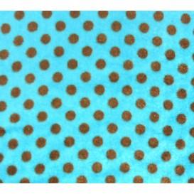 tissu doudou turquoise à pois largeur 145cm x 50cm