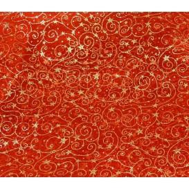 tissu organza rouge arabesque étoile or largeur 155cm x 50cm