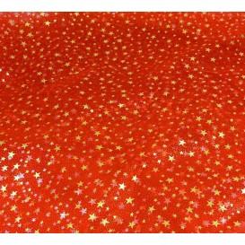 tissu organza rouge étoile or largeur 155cm x 50cm