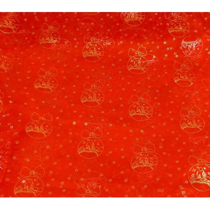 coupon 0,90m organza rouge boule noël or