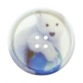bouton fantaisie sbottonati rond ours blanc 27mm