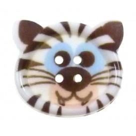 bouton fantaisie sbottonati tigre blanc 20mm