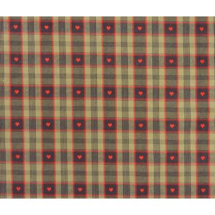 coupon 0,70m coton davos noir/rouge