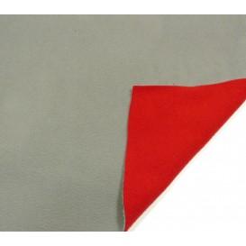 coupon 0,77m polaire bicolore gris/rouge