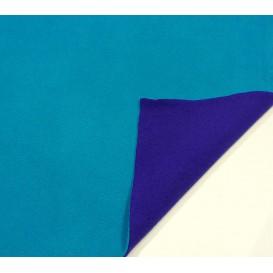 tissu polaire bicolore turquoise/bleu largeur 147cm x 50cm
