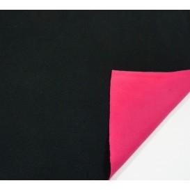 tissu polaire bicolore noir/rose largeur 147cm x 50cm
