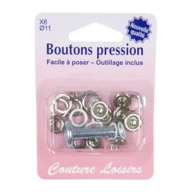 6 boutons pression cercle couleur 11mm outillage