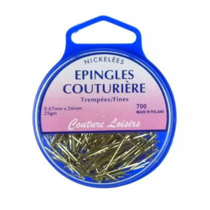 EPINGLES COUTURIERE NICKELEES 26 MM X 0.6 MM
