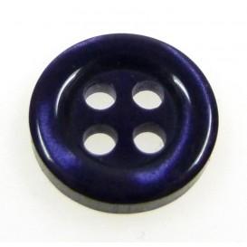 bouton 4 trous rond noir nacré bleu 11mm