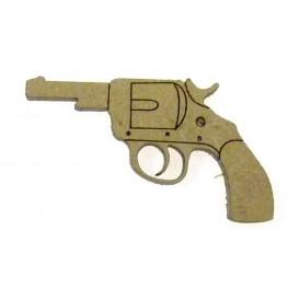sujet en bois pistolet cowboy
