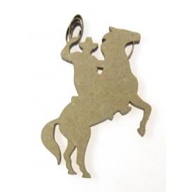 sujet en bois cowboy à cheval lasso