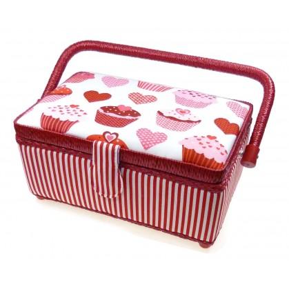 boîte à couture rouge muffins coeurs 24x16x11cm