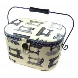 boîte à couture écru machine à coudre 30x20x19cm