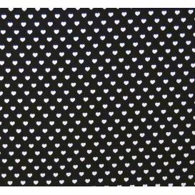tissu coton noir coeurs 5mm largeur 147cm x 50cm