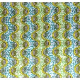 tissu africain wax jaune/vert largeur 113cm x 50cm