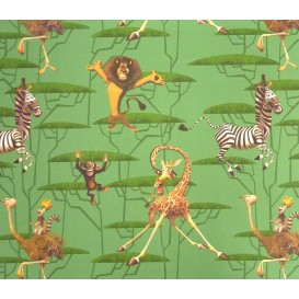 tissu coton madagascar vert largeur 140cm x 50cm