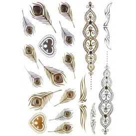 tatouages temporaires metallic tattoos plumes