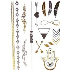 tatouages temporaires metallic tattoos frises tribal