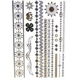 tatouages temporaires metallic tattoos frises or argent noir
