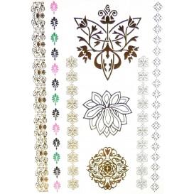 tatouages temporaires metallic tattoos fleurs frises couleur