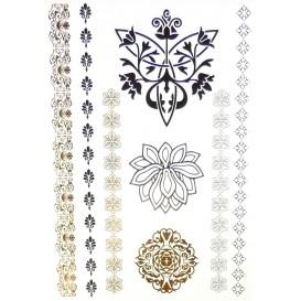 tatouages temporaires metallic tattoos fleurs frises