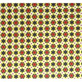 tissu stenzo popeline jaune fleurs largeur 147cm x 50cm
