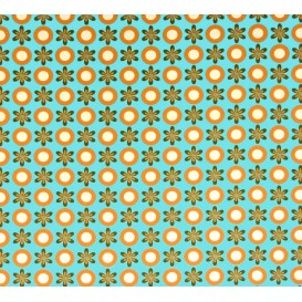tissu stenzo popeline turquoise fleurs et ronds largeur 147cm x 50cm