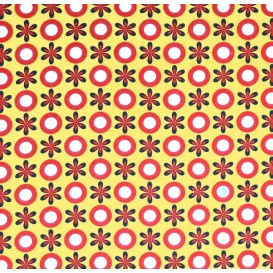 tissu stenzo popeline jaune fleurs et ronds largeur 147cm x 50cm