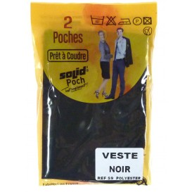 2 poches de veste noir à coudre