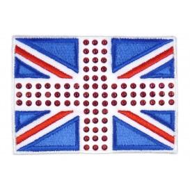 écusson drapeau anglais et strass thermocollant