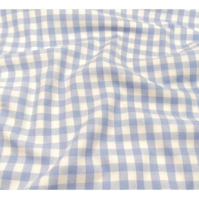 tissu vichy 10mm bleu ciel largeur 147cm x 50cm. Black Bedroom Furniture Sets. Home Design Ideas
