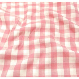 tissu vichy 18mm rose largeur 140cm x 50cm