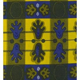 tissu africain wax rayures et formes largeur 113cm x 50cm
