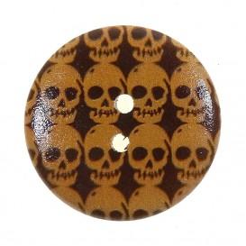 bouton déco en bois tête de mort 30mm