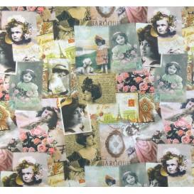 tissu popeline impression digitale femme retro largeur 145cm x 50cm