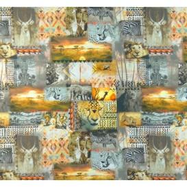 tissu popeline impression digitale safari largeur 145cm x 50cm