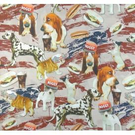 tissu popeline impression digitale doggy style largeur 145cm x 50cm