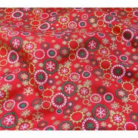 tissu noël rouge couronnes de noël largeur 150cm x 50cm