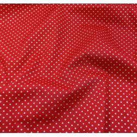 tissu noël rouge pois argenté 2mm largeur 150cm x 50cm