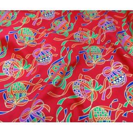 tissu noël rouge grosses boules de noël largeur 150cm x 50cm