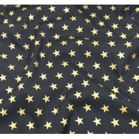 tissu noël marine étoiles doré 18mm largeur 150cm x 50cm