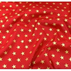 tissu noël rouge étoiles doré 18mm largeur 150cm x 50cm