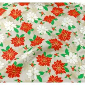 tissu noël gris fleurs et flocons largeur 150cm x 50cm