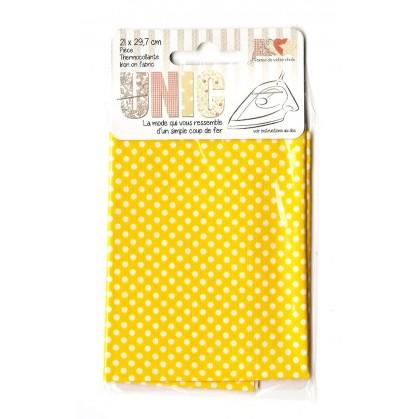 pièce thermocollante jaune à pois 21 x 29,7cm
