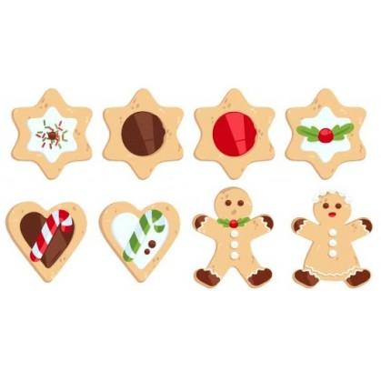 8 formes plates biscuits noël en bois