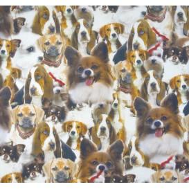 tissu popeline impression digitale chiens largeur 145cm x 50cm