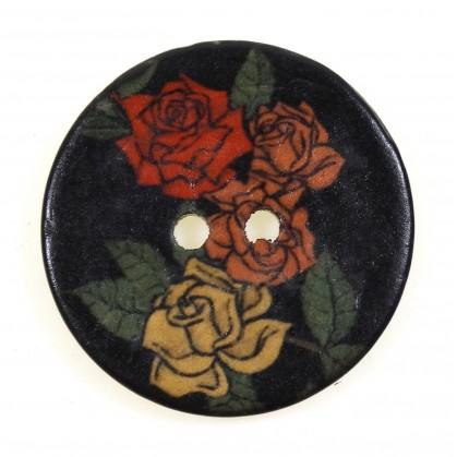 bouton coco imprimé roses 30mm