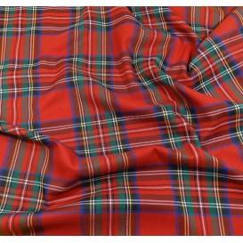 tissu écossais rouge/vert largeur 140cm x 50cm