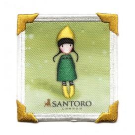 écusson gorjuss santoro chapeau jaune carré thermocollant